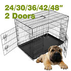 Black Wire Folding Suitcase Pet Dog Cat Crate Cage Kennel Pen ABS Tray