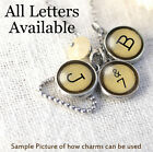 Initials Letters Vtg Typewriter Key Graphic Necklace Silver Pewter Charm Pendant