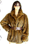 DESIGNER TOGETHER BROWN CUFF SLEEVES VERY SOFT FAUX FUR COAT SIZE LARGE
