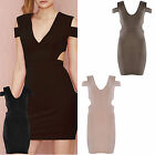 Women Ladies Summer Cut Out Sleeveless V Neck Stretch Bodycon Party Mini Dress