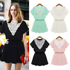 Lovely Women Lace Splicing Short SLeeve Tunic Casual Party Skater Mini Dress