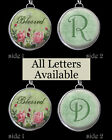 "Letters Initials Vtg Pink Roses Blessed Necklace 1"" Silver Pewter Charm Pendants"