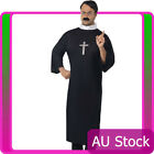 Adult Mens Priest Costume Robe Clerical Collar Monk Vicar Religious Fancy Dress