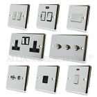 Full Range Polished Chrome Classical Sockets Switches Dimmers Black Metal Rocker