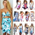 Women Dresses 3D Colorful Flower Painted Nightclub Sleeveless Hot Mini Dress