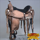 "TO106DB HILASON TREELESS WESTERN TRAIL BARREL RACING HORSE RIDING SADDLE 16"" 17"""