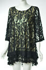 LADY NOIZ BLACK LACE SHIRT TOP TUNIC LINED FLORAL LINING CH194 1X 2X