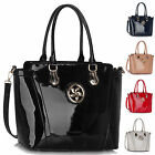 Womens Handbag Designer Ladies Fashion Faux Leather Tote Patent Shoulder Bag New