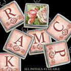 Vtg Postcard Peach Pink Roses Boho Letters Initial Necklace Silver Charm Pendant