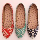 BN Padded Tribal Geometric Pointed Toe Ballet FLATS BALLERINAS Casual Shoes