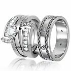 3 Pcs His & Hers Stainless Steel 2.75Ct Engagement Wedding Rings Band Set