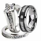 His Hers 3 Pcs Nice CZ .925 Sterling Silver Black Titanium Wedding Ring Band Set