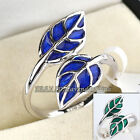 A1-R159 Blue & Green Glaze 18K White Gold Plated Leaf Ring Size 5.5-9 No Stone