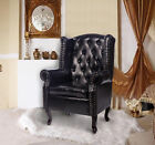PU Leather High Back Chair Foot Stool Queen Style Armchair Seat Cushion Backrest