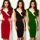 Formal Womens V Neck Sleeveless Slimming Wear To Work Pencil Bodycon Dress N682