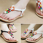 Womens Boho Rhinestone Strappy Thongs Sandals T- Strap Flip Flops Summer Shoes