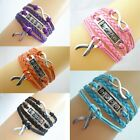 Fashion Infinity Hope Cancer Awareness Ribbon Charms Leather Braided Bracelet