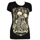 Restyle Immortal Lovers Skeletons In Love  Roses Black Short Sleeved Tshirt Top