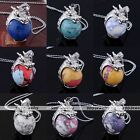 Howlite Turquoise Dragon Ball Bead White Gold Plated Wrap Pendant For Necklace
