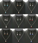 Cute Women Jewelry Sets Crystal Rhinestone Water Drop Pendant Earrings Necklace