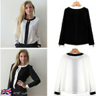 UK Womens Chiffon Casual Loose Shirt Size 6-12 Lady Long Sleeve Top Blouse Tee