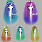 Fashion Long Curly Multi-Colors Lady Style Anime Halloween Cosplay Hair Full Wig