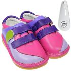 Girls Toddler Leather Squeaky Shoes Pink, Hot Pink & Purple & Shoe Horn