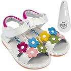 Girls Toddler Childrens Leather Squeaky Shoes Sandals White Wide Fit & Shoe Horn
