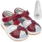 Girls Toddler Childrens Leather Squeaky Shoes Sandals White & Red & Shoe Horn