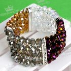 4-row Colorful Crystal Glass Faceted Bead Stretchy Bracelet Bangle Women Jewelry