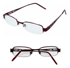 Ladies Pretty Burgundy Metal Frame Reading Glasses Lovely Arm Detailing