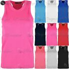 Kids Girls Childrens Cotton Ribbed Racer Muscle Front Back Tee T Shirt Vest Top