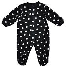 Girls Baby Black/White Spotted Fleece Sleepsuit Romper Newborn to 9 Months