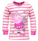 Girls Peppa Pig Ice Skates Glitter Long Sleeve Stripe Cotton Top 2 to 8 Years