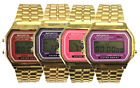 VINTAGE RETRO GOLD Colour Classic LCD Day Date Unisex Digital Sports Watch-ANCM1