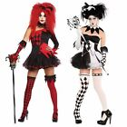 New Jesterina Tricksterina Harley Quinn Halloween Cool Clown Fancy Dress Costume