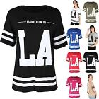 Womens Ladies HAVE FUN IN LA Stripes Varsity Football Oversize Baggy T Shirt Top