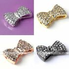 1x Side Ways Crystal Bowknot Bracelet Connector Charm Bead Making Findings DIY