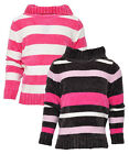 Girls Stripe Split Cowl Neck Super Soft Chenille Fashion Jumper 2 to 8 Years NEW