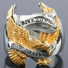 """USA America Eagle Hawk """"LIVE TO RIDE"""" Gold & Silver Finger Ring Stainless Steel"""