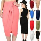 Womens Ladies Pleated Wrap Over High Waisted Stretchy Pencil Bodycon Midi Skirt