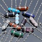 1x Pendulum Gemstone Hexagon Crystal Quartz Healing Point Pendant Chain Necklace