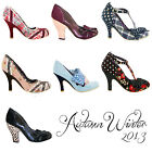 Irregular Choice New Ladies Vintage Retro Kitsch 1950s Style Heels Shoes - Clear