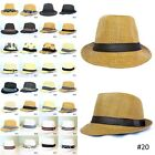 New Unisex Men Women Fedora Short Brim Tribly Black Beige Brown White Hat Cap IW