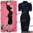 Women's Vintage 40'50' V Neck Shirtwaist Bodycon Slim Fit Party Business Dresses