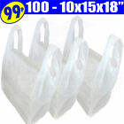 Plastic White Vest Carrier Bags For Shops/Stalls/Takeaways 10x15x18""