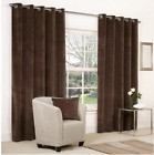 CHENILLE HEAVY & THICK FULLY LINED CURTAINS RING TOP in  CHOCOLATE BROWN  ex B&Q