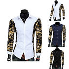 Men Stylish Dress Shirt Patchwork Long Sleeve Printed Slim Fit Casual Shirt Top
