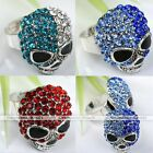 Silver Plated Crystal Skull Cocktail Party Finger Ring Adjustable Jewelry Gift
