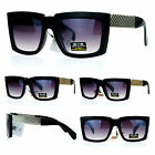 Retro Mafia Mobster Rectangular Waffle Cut Metal Chain Arm Sunglasses